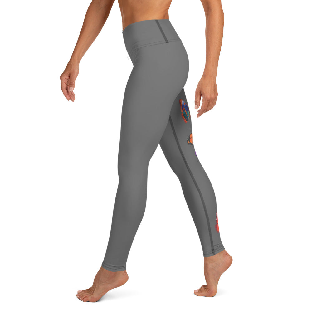 Butterflies in Flight Yoga Leggings (Dark Grey)