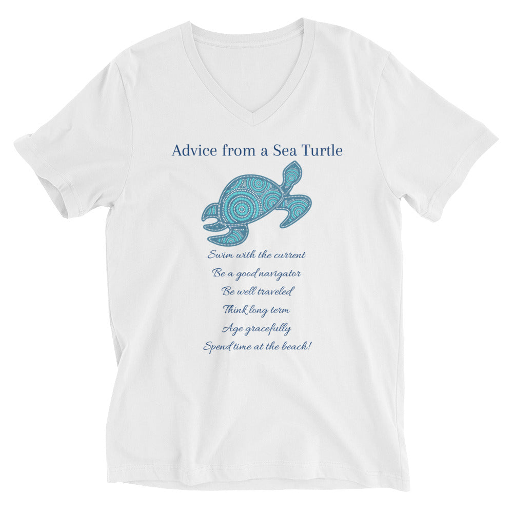 """Advice from a Sea Turtle"" V-Neck Cotton T-Shirt"