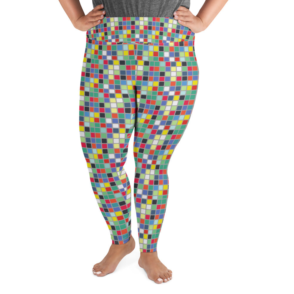 Abstract Cube Plus Size Leggings