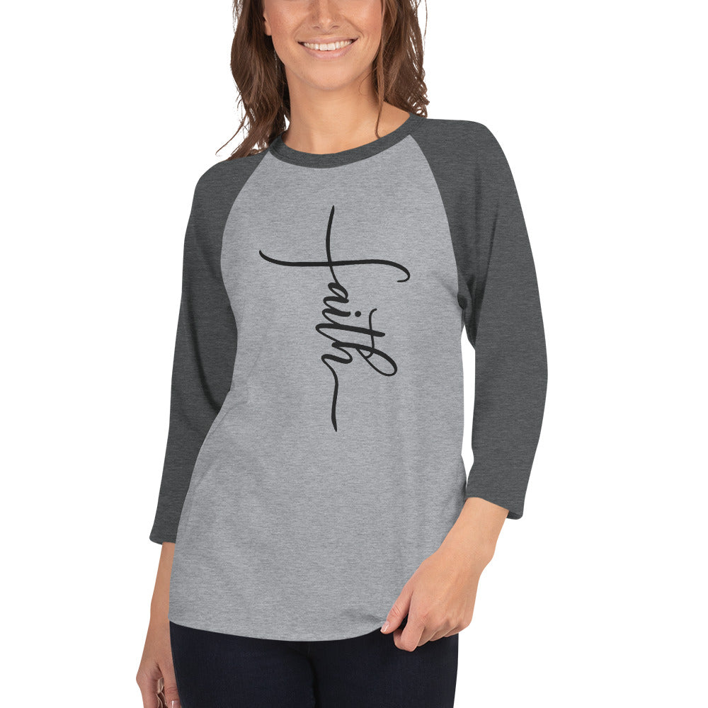 Faith Cross 3/4 Sleeve Raglan/Baseball Tee
