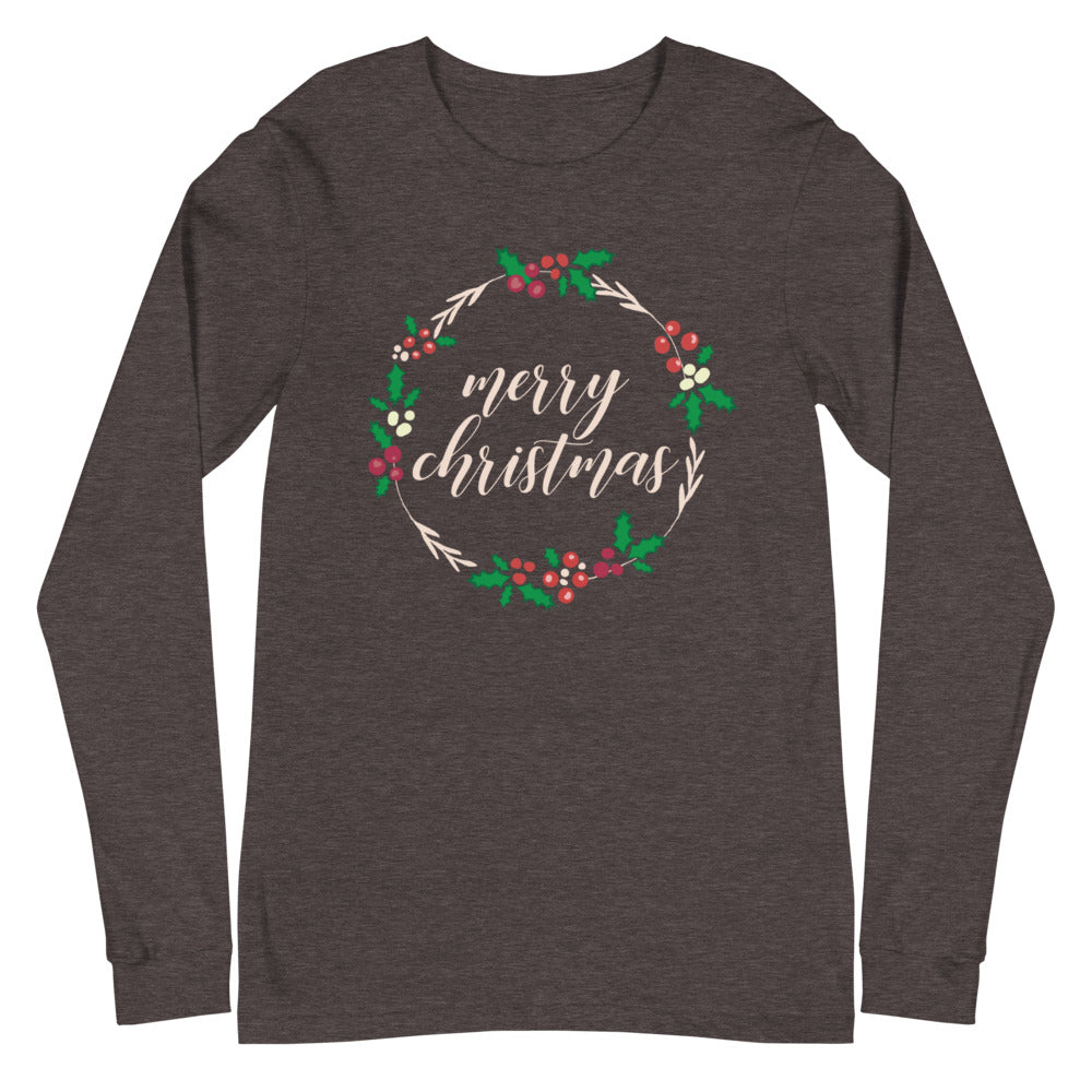 Merry Christmas Holly Garland Long Sleeve Tee