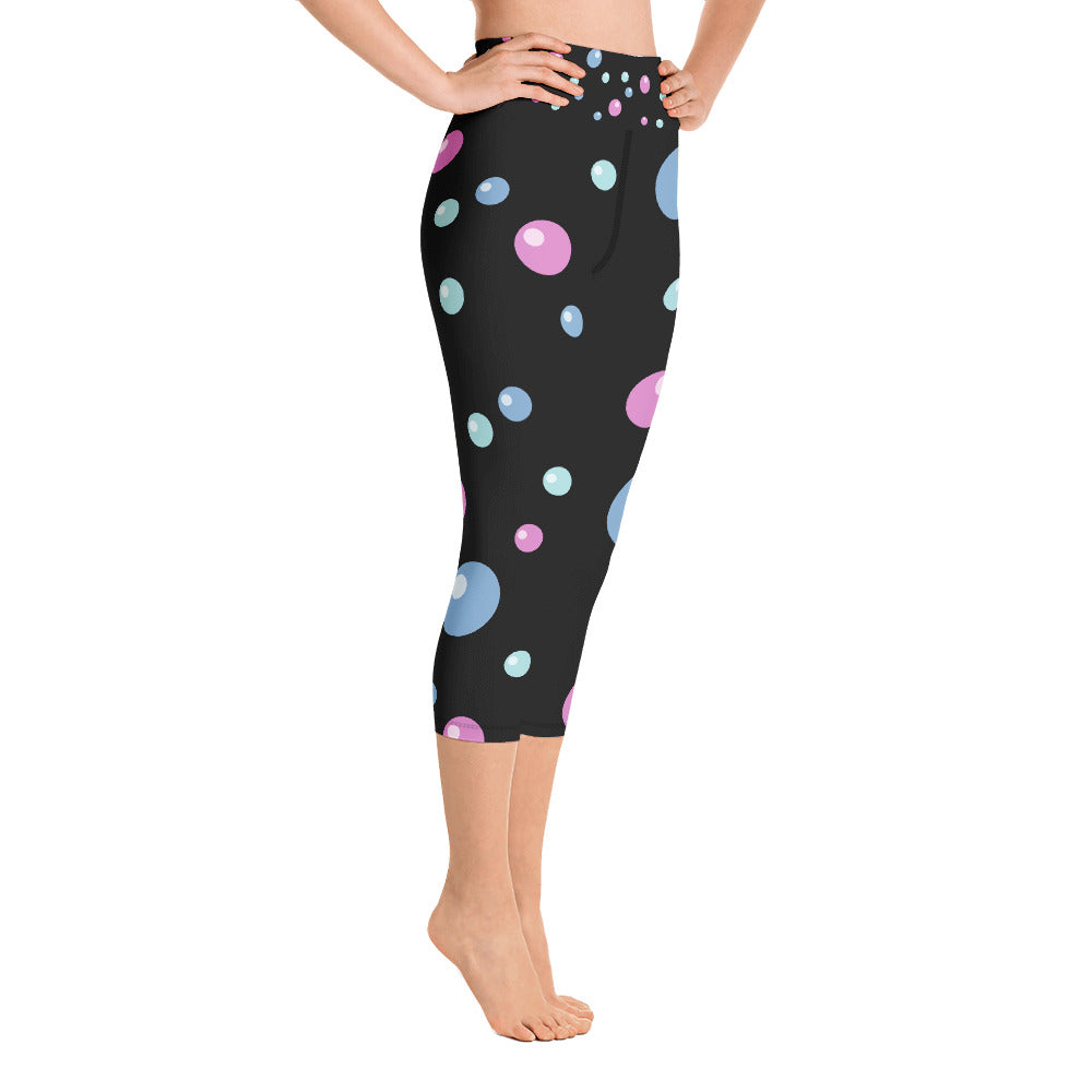 Abstract Bubbles Yoga Capri Leggings (Black)