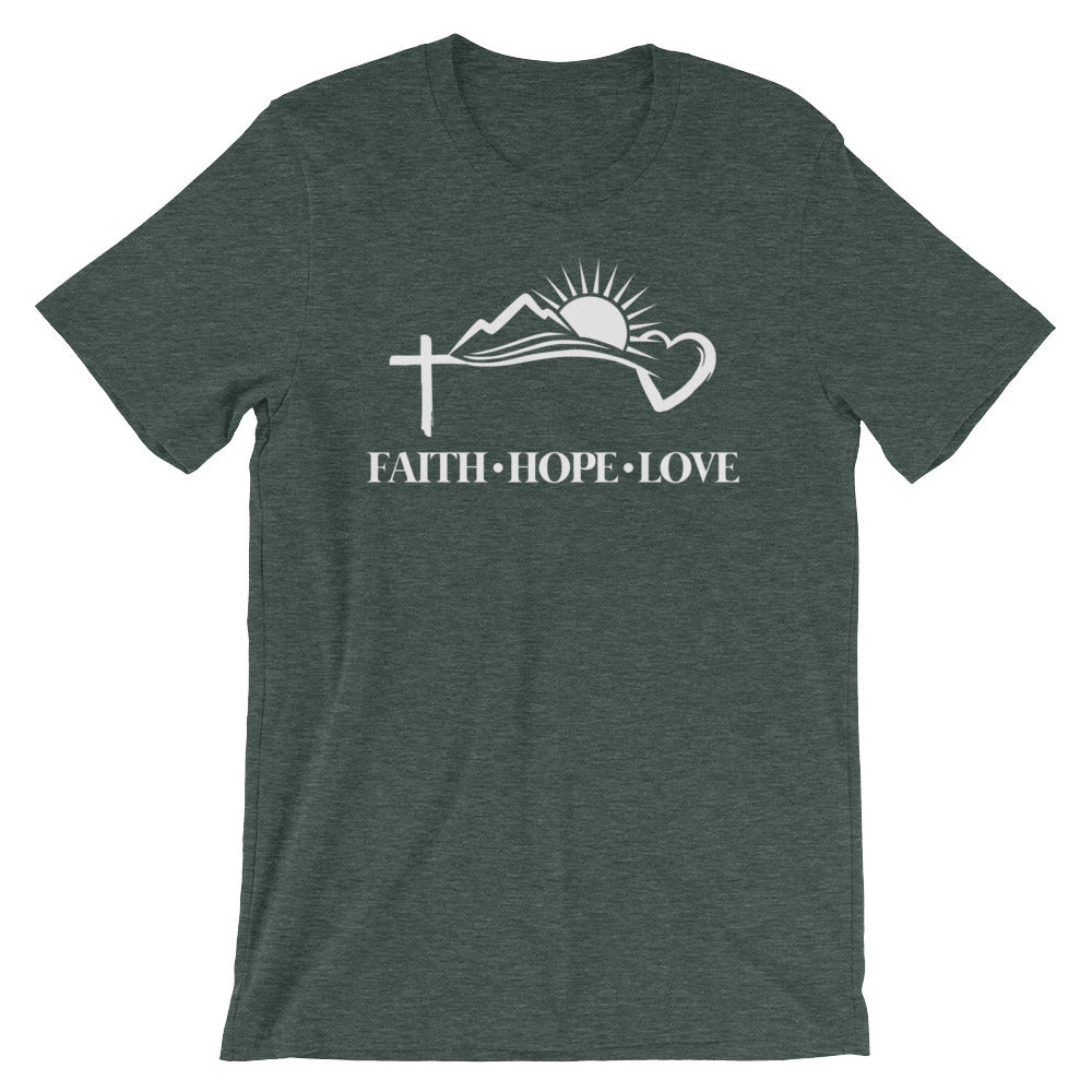 Faith Hope Love Symbols Cotton T-Shirt - Dark Colors