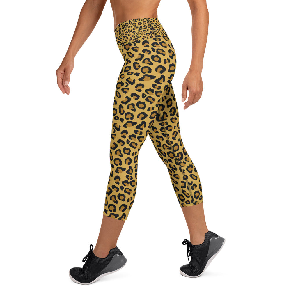 Leopard Skin Yoga Capri Leggings