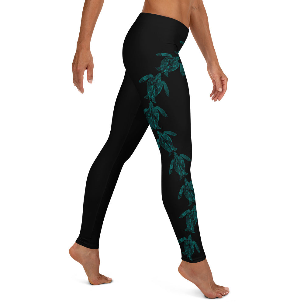 Teal Swimming Sea Turtles Full Length Leggings (Black)