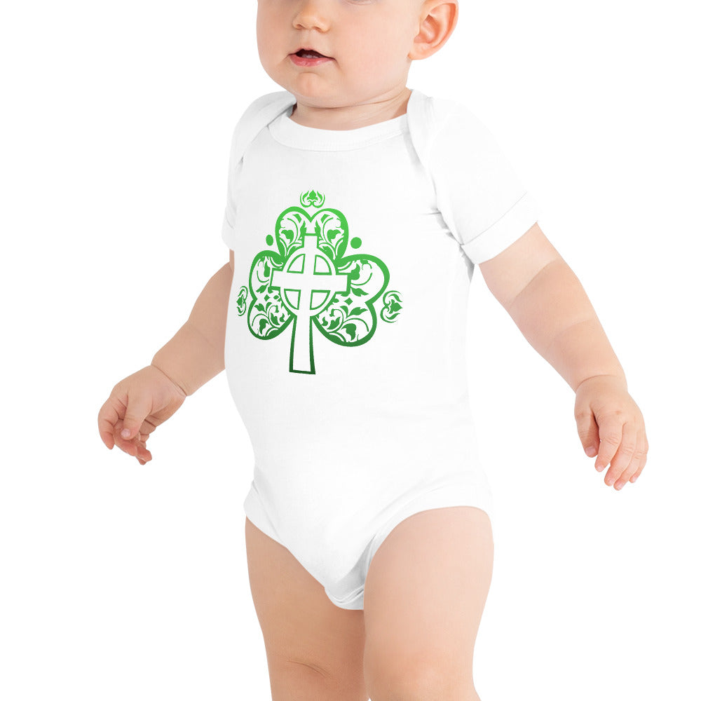St. Patrick's Day Filigree Shamrock Cross Baby Short Sleeve One Piece