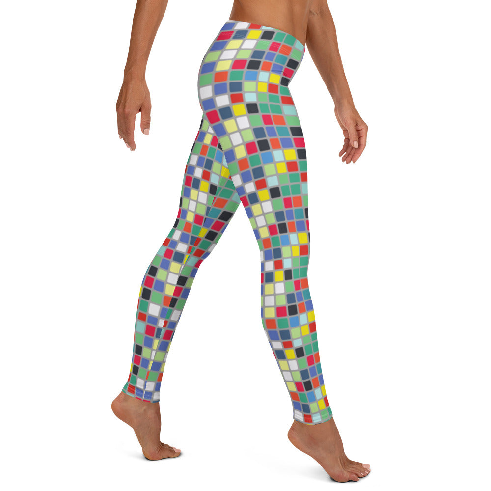 Abstract Cube Full Length Leggings