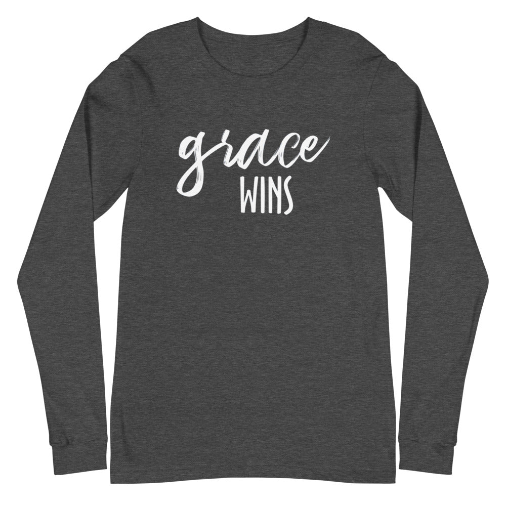 Grace Wins White Font Long Sleeve Tee (Several Colors Available)