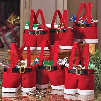 1 Pc Santa Claus Suspender Trousers Gift Bags