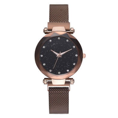 Women Magnet Mesh Buckle Starry Sky Casual Luxury Watch
