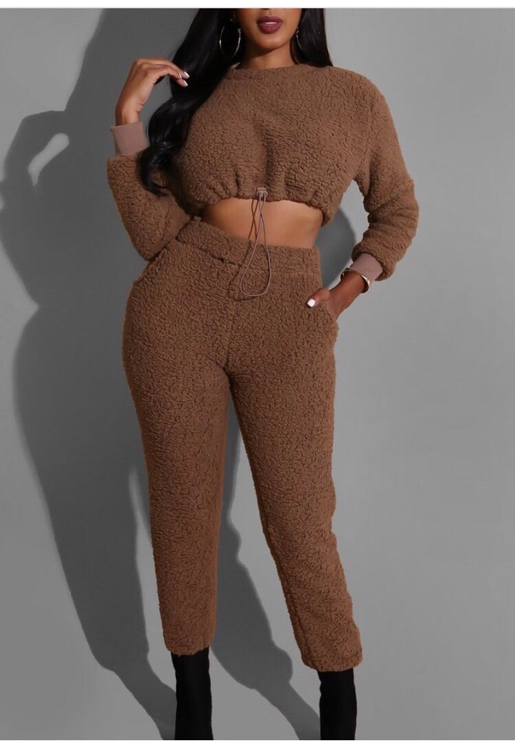 Teddy Crop & Jogger Pant Set