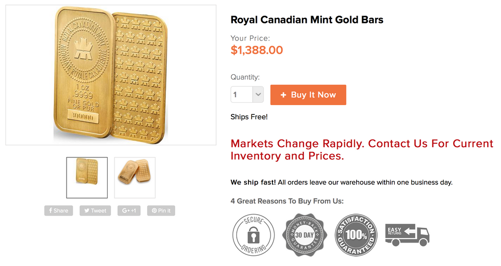Royal Canadian Mint .9999 1oz Gold Bar