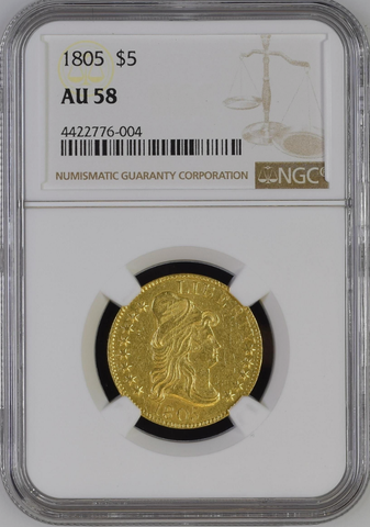 1805 Draped Bust Half Eagle NGC AU58