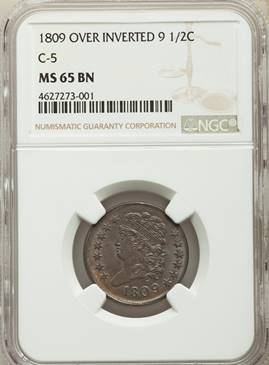 Partly Upside down – 1809 Over Inverted 9 Classic Half Cent  NGC MS65BN