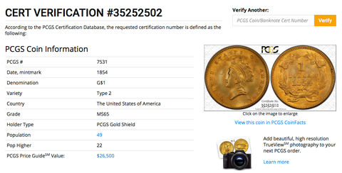 1854 Gold Dollar PCGS MS65