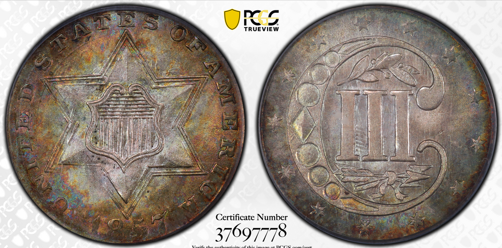 1857 Three Cent Silver PCGS MS66+