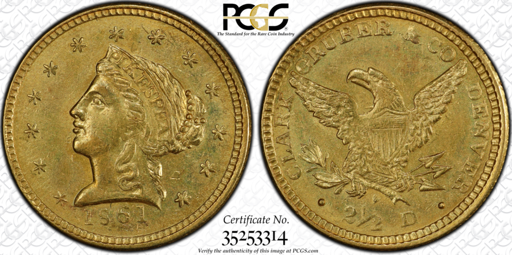 1861 Clark Gruber Quarter Eagle PCGS MS62