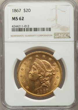 1867 Liberty Double Eagle  NGC MS62