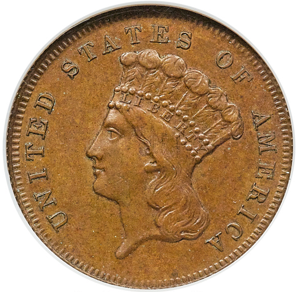 1872 Three Dollar Dies Trial in CopperJudd-1238, PR63 Brown