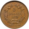 Image of 1872 Three Dollar Dies Trial in CopperJudd-1238, PR63 Brown