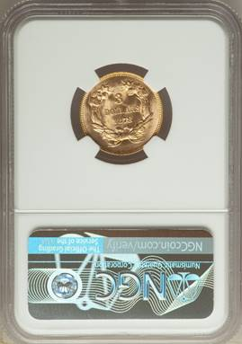 1878 Three Dollar Gold Piece NGC MS67