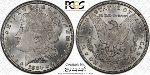 1880-CC PCGS MS65  (#13 of Top 20) Morgan Silver Dollar