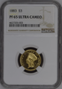 "1883 ""Three Dollar Gold Piece"" NGC PR65 Ultra Cameo - 136 Years Old"