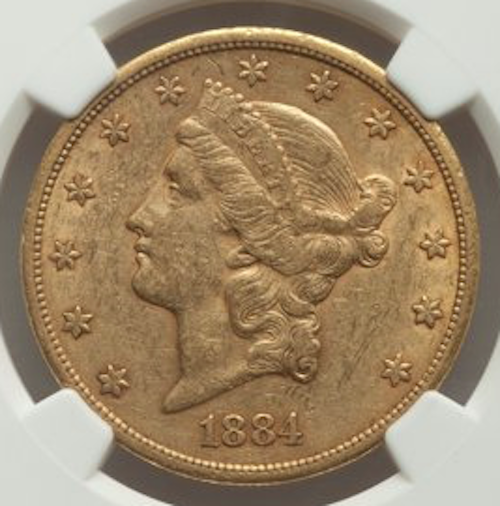 1884-CC Liberty Double Eagle NGC AU55