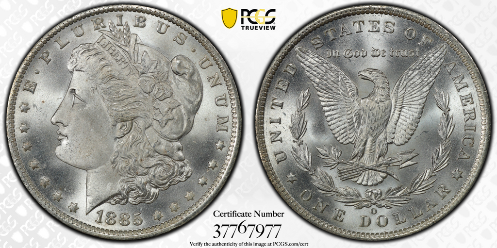 1885-O MORGAN DOLLAR PCGS MS67+ (CAC)
