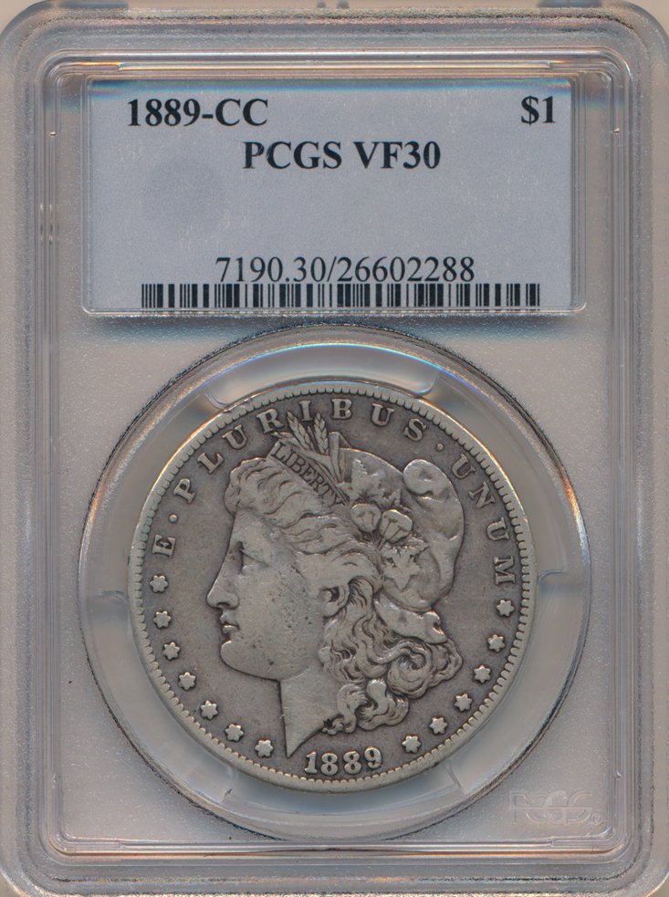 1889-CC PCGS VF30 (Rarest of the Carson City Collection) SOLD