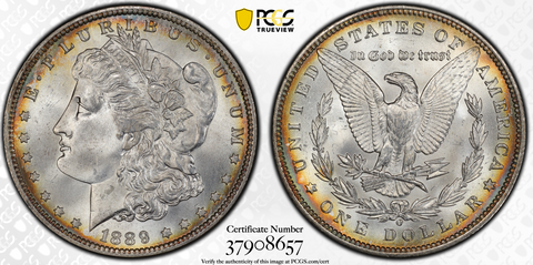 1889-O MORGAN DOLLAR PCGS MS65+ (CAC)