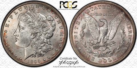 1895-O MORGAN DOLLAR PCGS MS62
