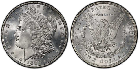1897 Morgan Silver Dollar (35 of 50) - (R2)  - As part of the (50) and (10) coin set, this coin is available. As a single coin purchase in this venue, refer below.