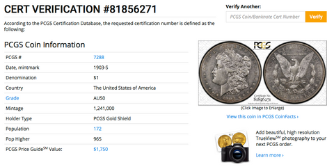1903-S PCGS AU50 (#14 of Top 20) Morgan Silver Dollar