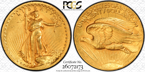 1907 $20 High Relief  PCGS MS63