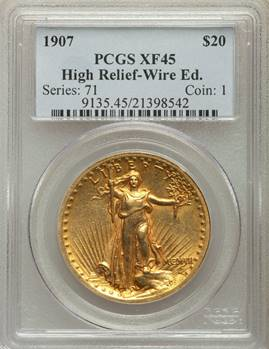Always Popular 1907 High Relief Wire Edge Double Eagle PCGS XF45