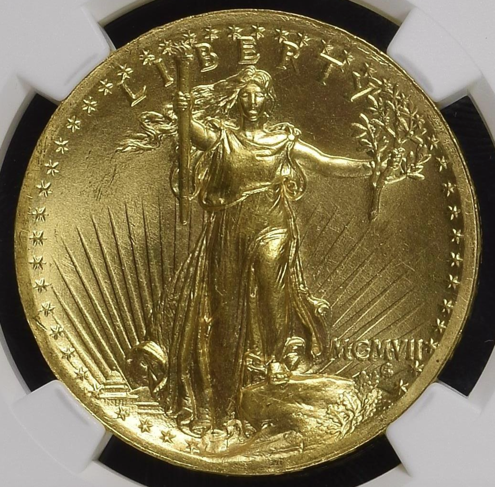 1907 Wire Rim High Relief Double Eagle  NGC MS67