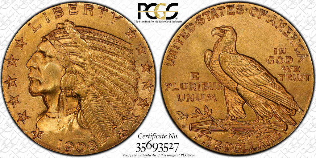 1908-S Indian Half Eagle  PCGS/CAC MS64+