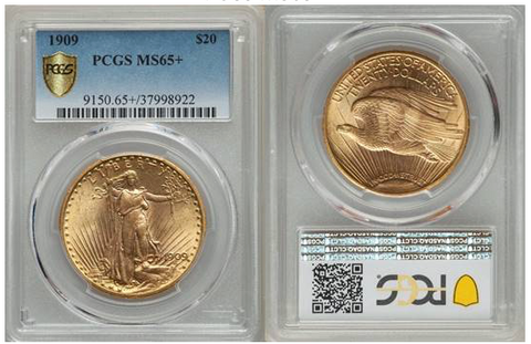 1909 Double Eagle - $20 Saint-Gaudens, PCGS MS65+     (1 of 2)