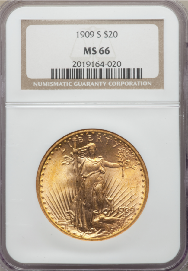 1909-S Saint Gaudens Double Eagle NGC MS66