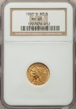(Key-Date) 1911-D Indian Quarter Eagle  NGC MS65 - Gem Quality!