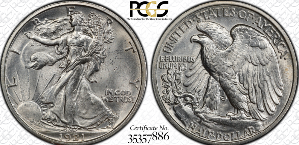 1921-D Walking Liberty Half Dollar PCGS MS63