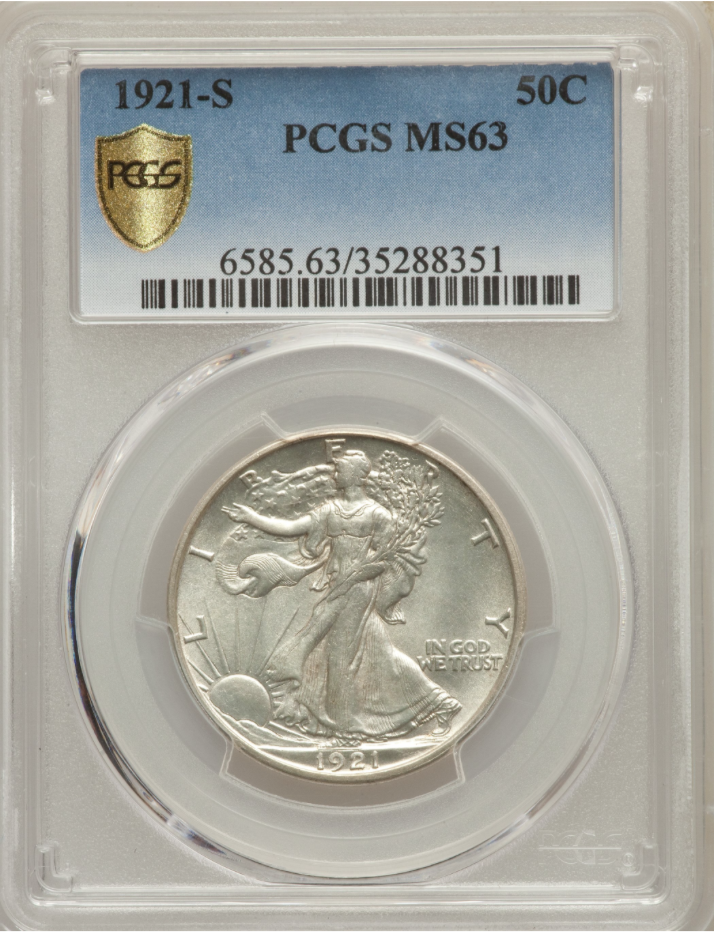 1921-S Walking Liberty Half Dollar PCGS MS63 *Choice Uncirculated Walker Rarity!