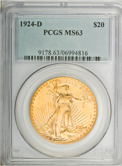 1924-D Saint Gaudens Double Eagle  PCGS MS63
