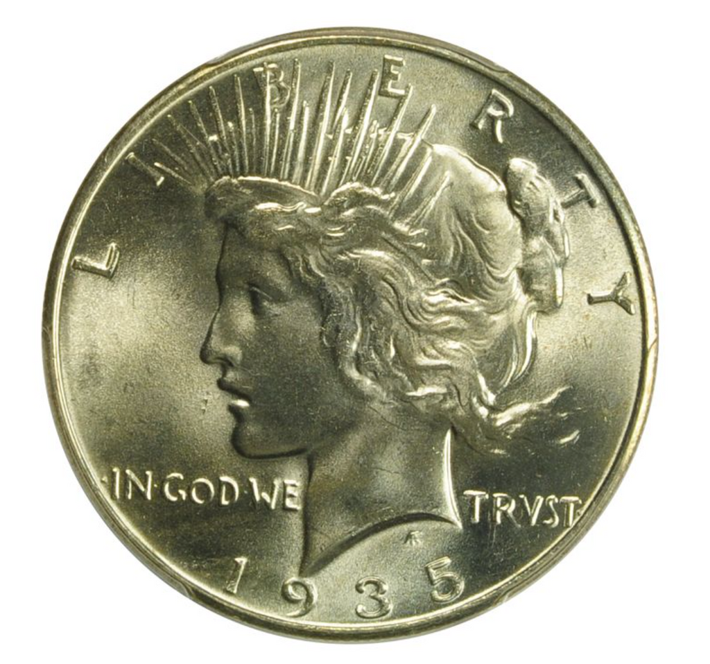 1935 PEACE DOLLAR PCGS MS66+
