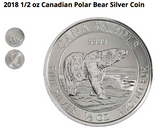 Image of 2018 1/2 oz Canadian Polar Bear .9999 Pure Fine Silver Coin - Royal Canadian Mint - Call While Supplies Are Available Only $11.65 per coin.