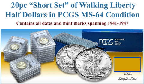 Walking Liberty Half Dollar (20) coin set in PCGS MS64 Condition