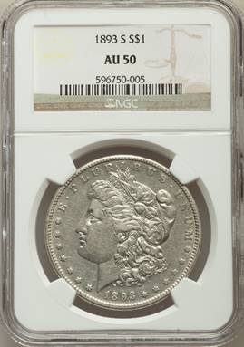 AU Morgan Key - 1893-S Morgan Dollar NGC AU50 (#1 of Top 10)