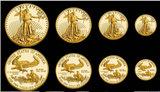 Image of American Gold Eagles 1 oz, 1/2 oz, 1/4 oz and 1/10 oz gold coins for a combined total of 1.85 ozs of gold. - Call for the