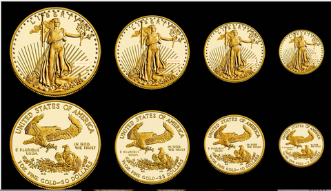 American Gold Eagles 1 oz, 1/2 oz, 1/4 oz and 1/10 oz gold coins for a combined total of 1.85 ozs of gold.